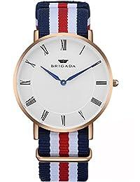BRIGADA Minimalist Men's Quartz Wrist Dress Watch Swiss Brand Waterproof Watches for Men Nylon Band Rose Gold Case White Dial