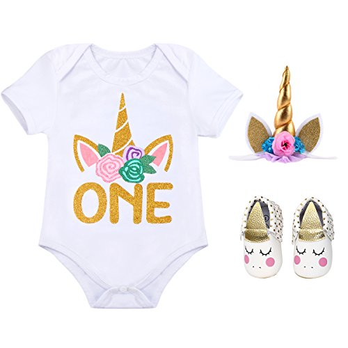 (My 1st Birthday Cotton T-Shirt with Headband Shoes for Flower Baby Girls' Birthday ONE 1 Years Outfit Party Princess Clothes Set #5 Unicorn ONE+White Shoes 12-18 Months)