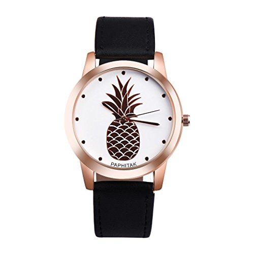 Jaylove Clearance 2018 Fashion Casual Unisex Womens Men Pineapple Faux Leather Analog Quartz Watch (Black) (Watch Silver Date Pocket)