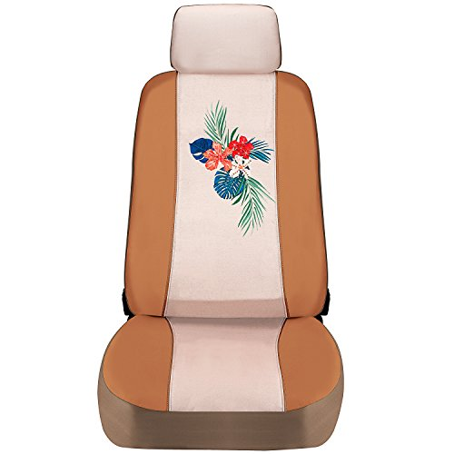 Special Edition Tropical Swarovski Crystal Embellished-Tan Faux Leather//Canvas Pilot Automotive SWR-0127 Seat Cover