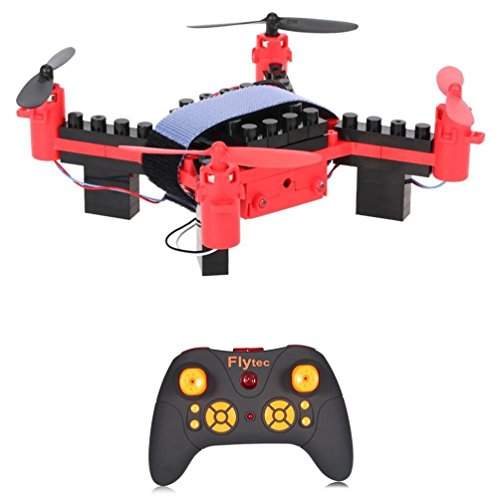 Leegor Flytec T11 Innovative DIY Building Blocks Drone Helicopter 4-channel 6 gyroscope Quadcopter 2.4G Remote Control (red) by Leegor