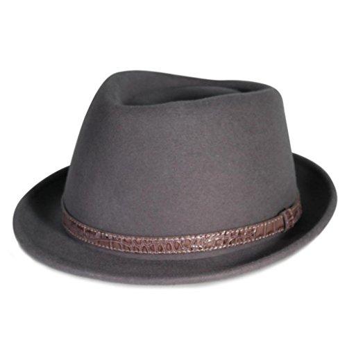 City Hunter Pmw86 Pamoa Wool Felt Fedora with Crocodile Leather Trim (Grey - Large )]()