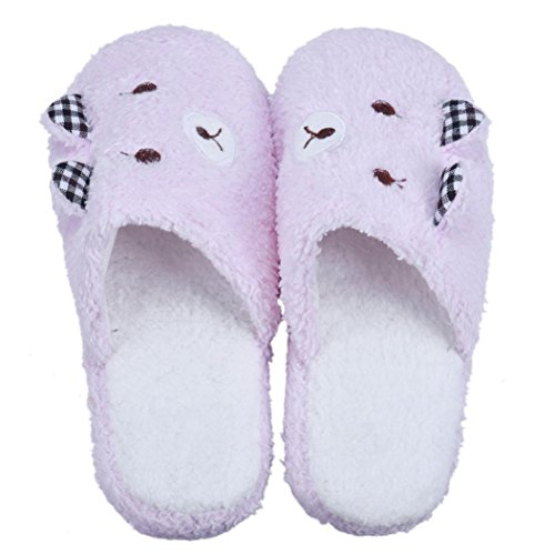 6 Floor Shoes Flats 5 padded Lovely Cotton Qingfan Soft 8 Slippers Bear Home Shoes Pink FPppZfqxw