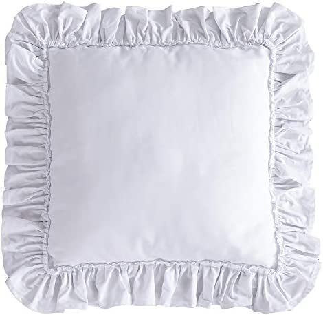 Queen s House White Square Decor Pillow with Insert Shabby Ruffle Throw Pillow 1 Piece, 18x18Inches