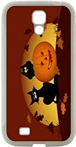 chen-shop design Rikki KnightTM Halloween Pumpkin And Black Cat Design Samsung? Galaxy S4 Case Cover (White Hard pc pc with Bumper Protection) for Samsung Galaxy S4 i9500 high quality