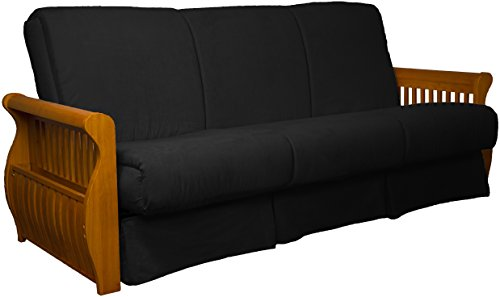 Laguna Perfect Sit & Sleep Pocketed Coil Inner Spring Pillow Top Sofa Sleeper Bed, Queen-size, Medium Oak Arm Finish, Microfiber Suede Ebony Black Upholstery Review