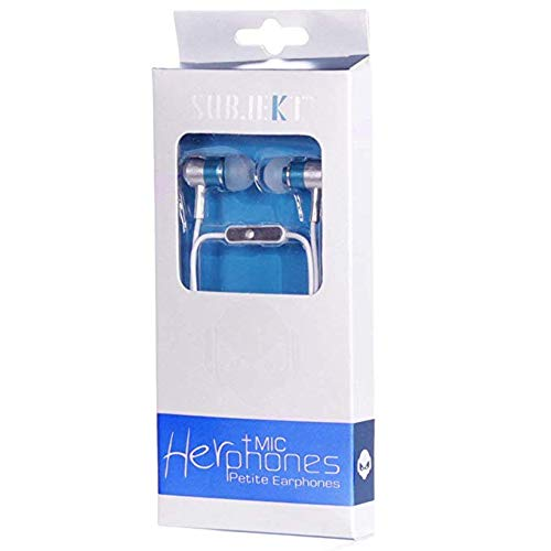 (Subjekt HPM-21BL HerPhones Petite Earphones with Microphone Designed for Small Ears - Wired Headsets - Retail Packaging - Blue )
