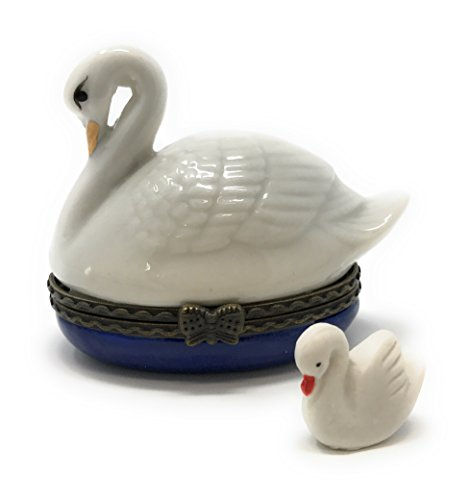 Porcelain  White Swan Hinged Lid Trinket Box with Tiny Trinket Inside, By ArtGifts, 2.25