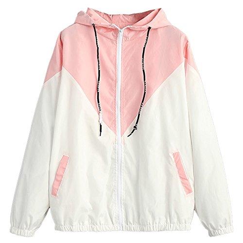 (ZAFUL Women's Long Sleeve Hooded Collar Wide Waist Two Tone Windbreaker Jacket (Pink, L) )
