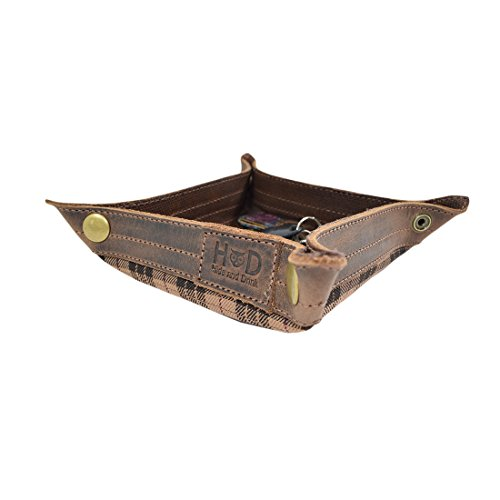 Waxed Canvas Catchall Jewelry Change Keys Wallet Coin Box Tray for Coffee Table/Desk/Dresser Storage Valet Handmade by Hide & Drink :: Honey Bourbon ()