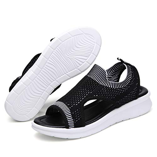 36e775e495973 Womens Low Wedge Comfortable Breathable Sport Summer Sandals Easy Wear  Cutout Durable Outdoor, MmNote Black