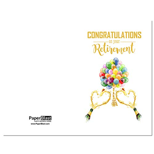graphic regarding Retirement Card Printable known as : Balloons and Champagne Retirement Card - with