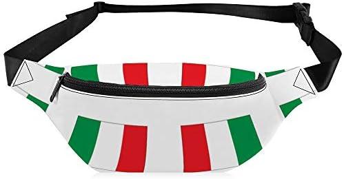 イタリアの国旗の小ささ メンズウエストバッグショルダーバッグユニセックス防水性と耐久性調節可能なベルト大容量ウエストバッグ通勤ハイキング登山