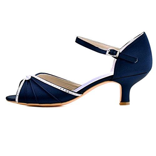 toes los HP1623 de ElegantPark novia zapatos Peep de abrochan sat xIAvEpw