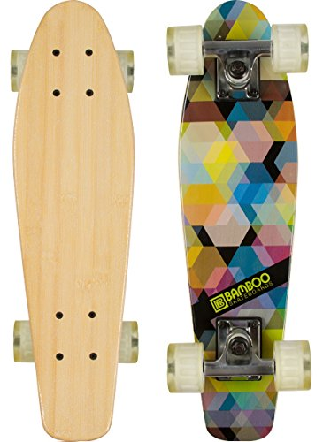 Bamboo Skateboards Complete Mini Cruiser Skateboard with Kaleidoscope Design, 6