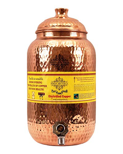 Indian Art Villa Hammered Copper Water Dispenser Container Pot Matka, Storage Water, 68 OZ