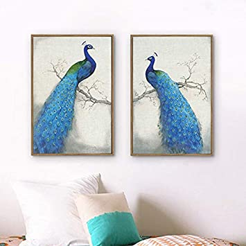 N / A Vintage Blue Peacock Animal Printed Canvas Painting Oil Painting Poster Living Room Sofa Background Decoration Frameless 40x60cm