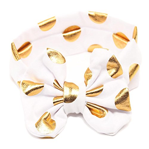 Cotton Baby Girls Big Bow Headband with Gold Polka Dot Bronzing kids Knotted JA600