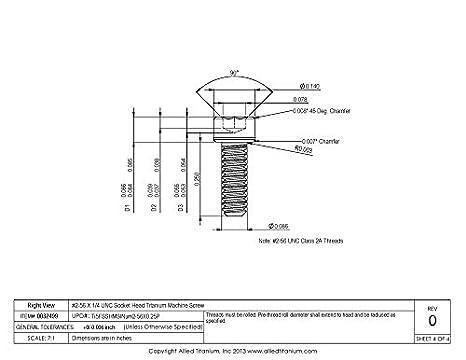 Inc Pack of 10 Grade 5 Allied Titanium 0032499, Ti-6Al-4V #2-56 X 1//4 UNC Socket Head Titanium Machine Screw 1033951001