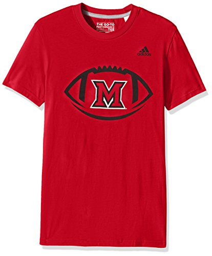 adidas NCAA Miami (Ohio) Redhawks Adult Men Sideline Pigskin Go-to Performance Tee, X-Large, Power Red ()