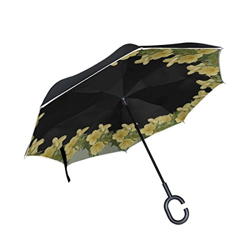WBSNDB Double Layer Inverted Frame Border Evening Primrose Umbrellas Reverse Folding Umbrella Windproof Uv Protection Big Straight Umbrella For Car Rain Outdoor With C-shaped Handle
