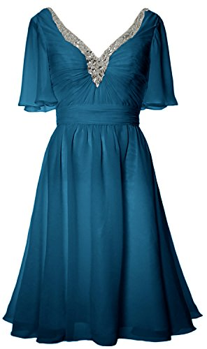 MACloth Women Short Sleeves Mother of Bride Dress V Neck Evening Formal Gown Teal