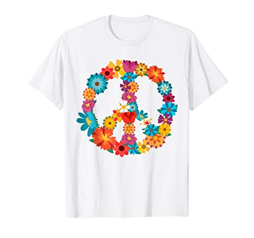 Peace Love Shirt | 60's 70's Hippie Costume Colorful Flowers]()