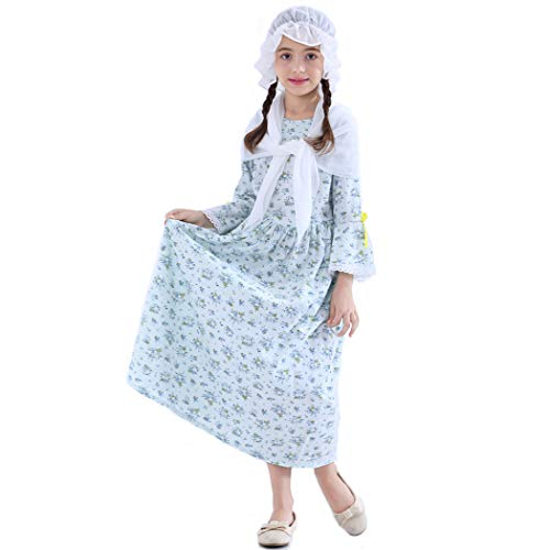 KOGOGO Pioneer Colonial Girl Dress Child Prairie Costume 100% Cotton,Blue-10 -
