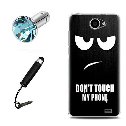 Lusee® Funda de silicona para Woxter Zielo Z400 5.0 Suave Cascara TPU negro Dont touch my phone