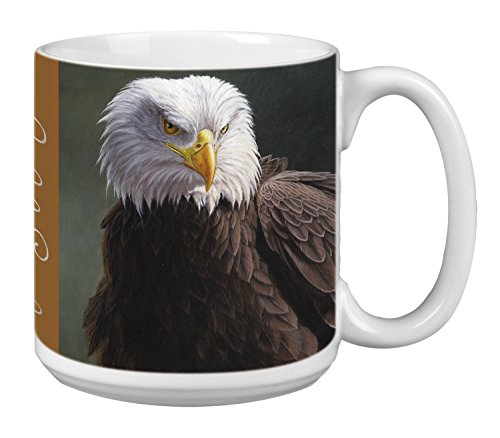Tree-Free Greetings Extra Large 20-Ounce Ceramic Coffee Mug, Bald Eagle Themed Wildlife Art (XM29696)
