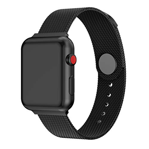 Smart Watch Band for Apple Watch Series, Elevin(TM) Magnets Milanese Loop Mesh Metal Replacement Strap for Apple Watch 4/3/2 38/40mm & 42/44mm (Black, Apple Watch 4/3/2 42/44mm)