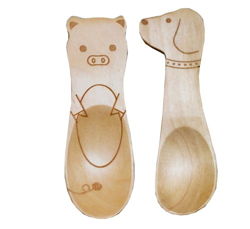Panda Superstore Set of 2 Cute Animals Natural Wood Spoons Jam Spoon(Dog & Pig) by Panda Superstore