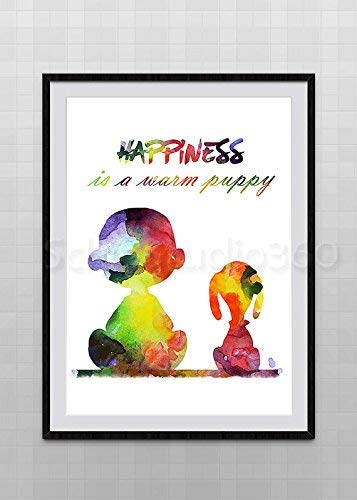 8bb58d53ba5f04 Image Unavailable. Image not available for. Color  Snoopy Charlie Brown  Watercolor Art Print ...