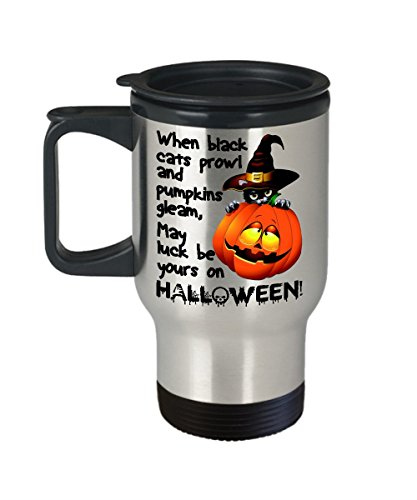 Black Cats Pumpkins Halloween Poem Travel Mug