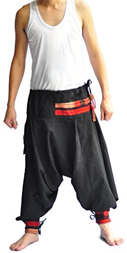 Men's Pants One Size All Black Hill tribe design unique on waist and ankle by Siam Trendy