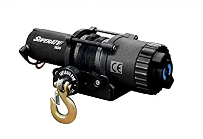 SuperATV 3500 lb. Black Ops ATV / UTV Winch with 50 ft. Synthetic Rope - Wireless Remote and Aluminum Hawse Fairlead Included