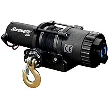 SuperATV 3500 lb. Black Ops ATV/UTV Winch with 50 ft. Synthetic Rope - Wireless Remote and Aluminum Hawse Fairlead Included