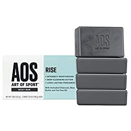 Art of Sport Body Bar Soap (4-Pack) – Rise Scent – Activated Charcoal Soap with Natural Botanicals Tea Tree Oil and Shea Butter – Fresh and Clean Fragrance – Shower + Hand Soap – 3.75oz
