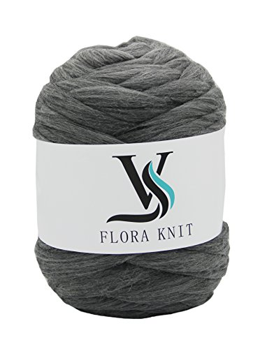 Merino Super Chunky Yarn Wool Roving for Arm Knitting (4.4LB(2KG)-50mm, GRAY) by FLORAVOGUE