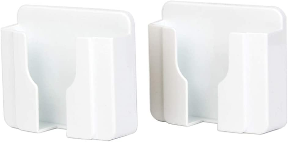 Wall Mount 3M Adhesive Mobile Phone Wall Charger Holder and Remote Control Stand Multipurpose Storage Box (White 2 Pack)