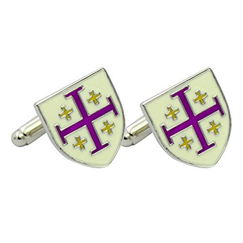 (Amytong High end classy godfather enamel cufflinks white and purple color, French shirt daily)