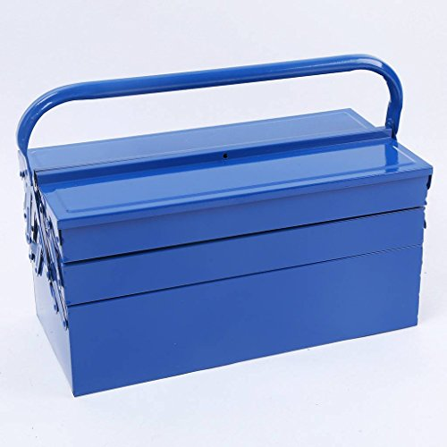(Liquor Cantilever Steel Tool Box Heavy Duty Storage Carrier 16.5 inch Blue Portable with Hand-Carry 5-Tray)