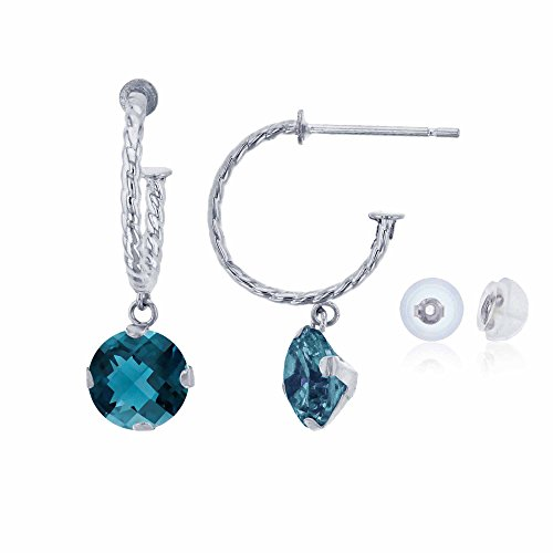 14K White Gold 12mm Rope Half-Hoop with 6mm Round London Blue Topaz Martini Drop Earring with Silicone Back
