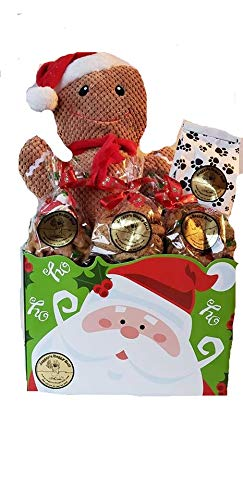Jagger's Doggy Deli Christmas Pet Dog Gift Basket with Large Gingerbread Man