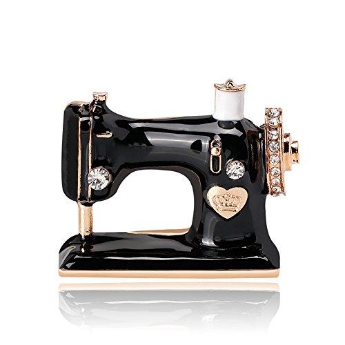 Afco Creative Shiny Rhinestone Enamel Sewing Machine Women Brooch Pin Fashion Jewelry Dress Accessory Size 3.5cm x 2.9cm (Black)