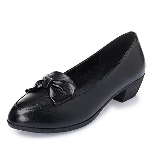 Schuhe Lederne Leder Formale Kopf Retro Dame Schuh Schuhe Runder Steigungs der MHSXN Handels Damenschwarzer tqRUan6W6