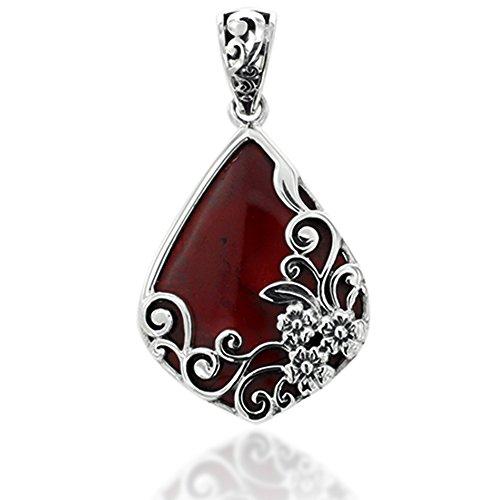 925 Oxidized Sterling Silver Decorative Red Jasper Gemstone Triangle Tear Drop (Jasper Teardrop Pendant)