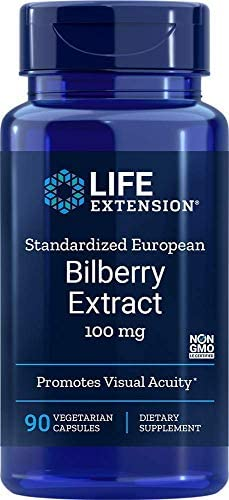 Life Extension Standardized European Bilberry Extract Promotes Visual Acuity 100 Milligram, 90 Vegetarian Capsules