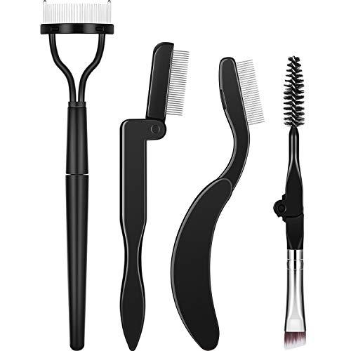 Folding Eyebrow Comb Eyelash Separator Eyebrow Eyelash Grooming Brush for Making Up Supplies (Style A, 4 Pieces) (Eyelash Combs)