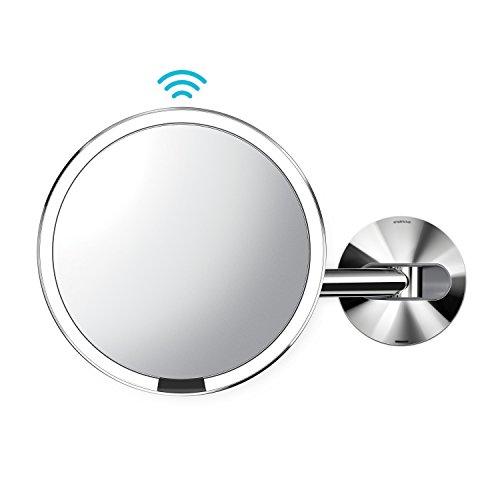 simplehuman Wall Mount-5x Magnification Sensor Makeup Mirror, Polished Stainless -